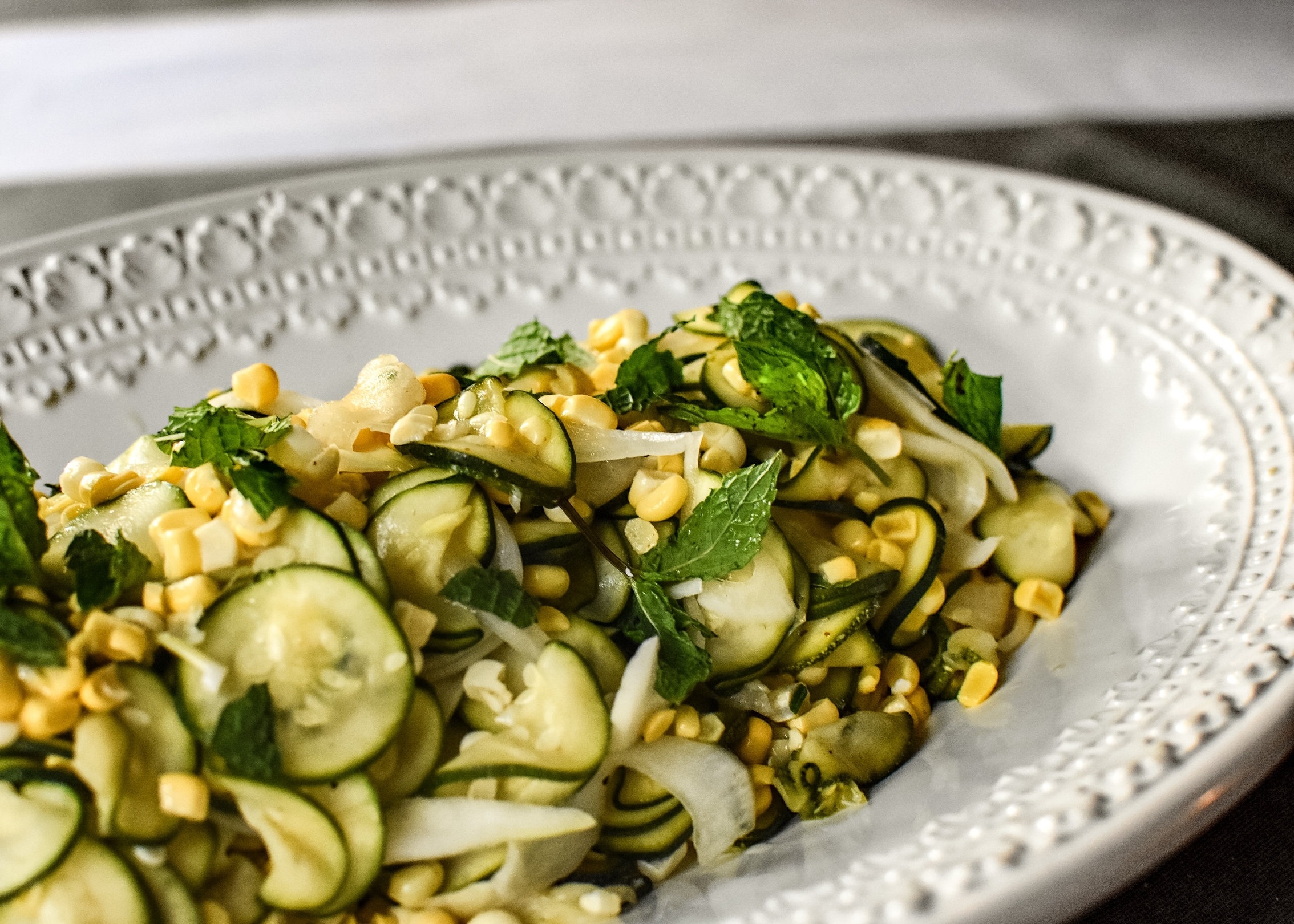 """Quick Zucchini """"Pickles"""" with Summer Corn and Mint"""