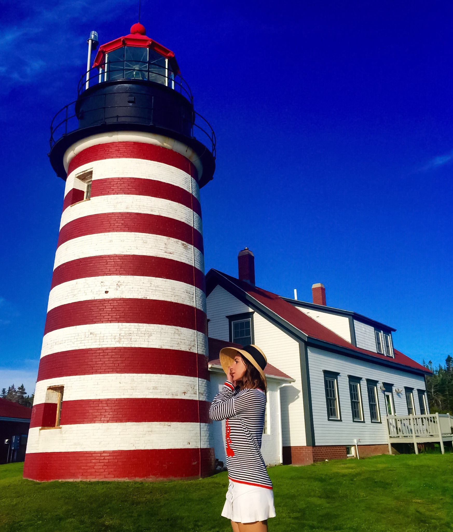 The West Quoddy Head Light , with it's iconic red and white candy stripes, is one of the most frequently depicted American lighthouses and the most famous one in Maine. Built in 1858, it remains an active aid to navigation to this day. Tours are offered daily from Memorial Day through October 15th.