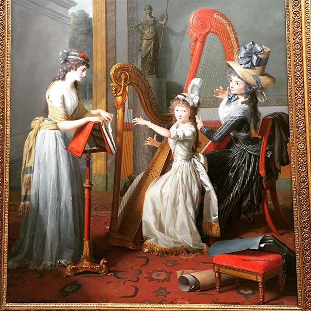 THE HARP LESSON (Mademoiselle d'Orleans Taking a Harp Lesson) 🎨🖼#JeanAntoineTheodoreGiroust 1791 #OilOnLinen @dallasmuseumart  Foundation for the Arts Collection, Mrs. John B. O'Hara Fund 2015 #18thCPainting #18thCArts #FrenchRevolution #18thCCostume #18thCInteriors #18thCDecorativeArts