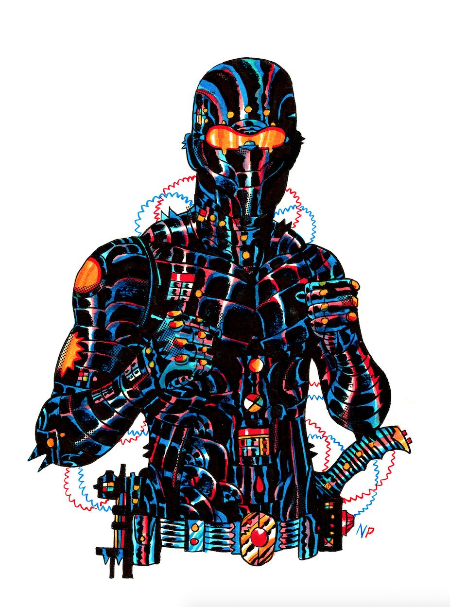 Fatalis / 9x12 / Ink, Marker, Screentone