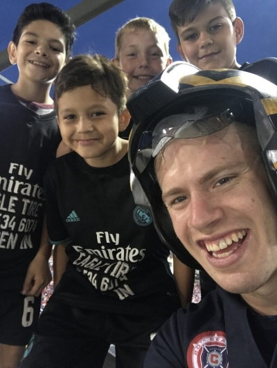 Selfie with some young Chicago Fire Fans during Star Wars Night