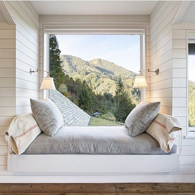 This cozy window seat is giving me all the feels and some major inspo for a new project highlighting some killer views...water views instead of mountain views at #projectrockbeach 📷 Repost from @scoutandnimble