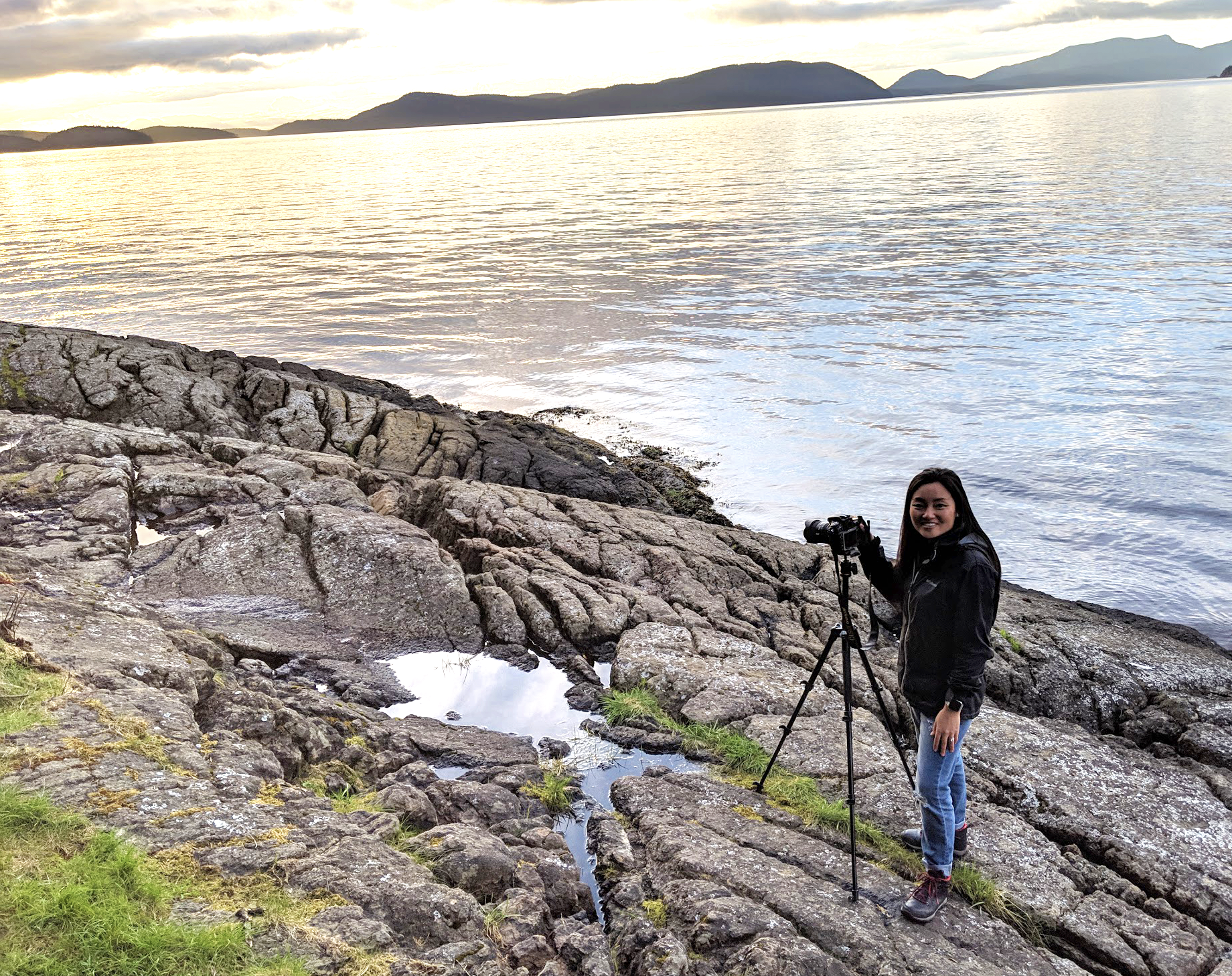 Here I am with my DSLR Outdoor Camera shooting the sunset over the San Juan Islands
