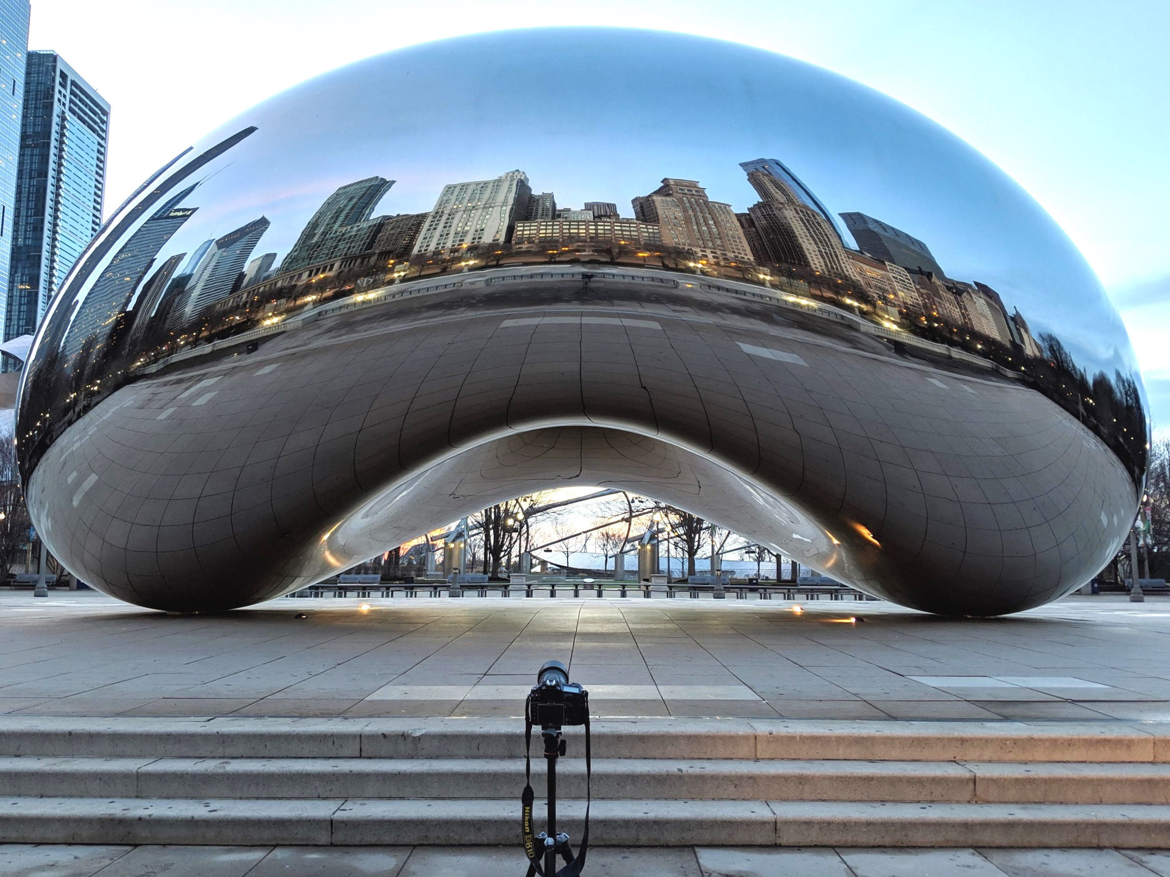Camera in front of the Bean at Sunrise
