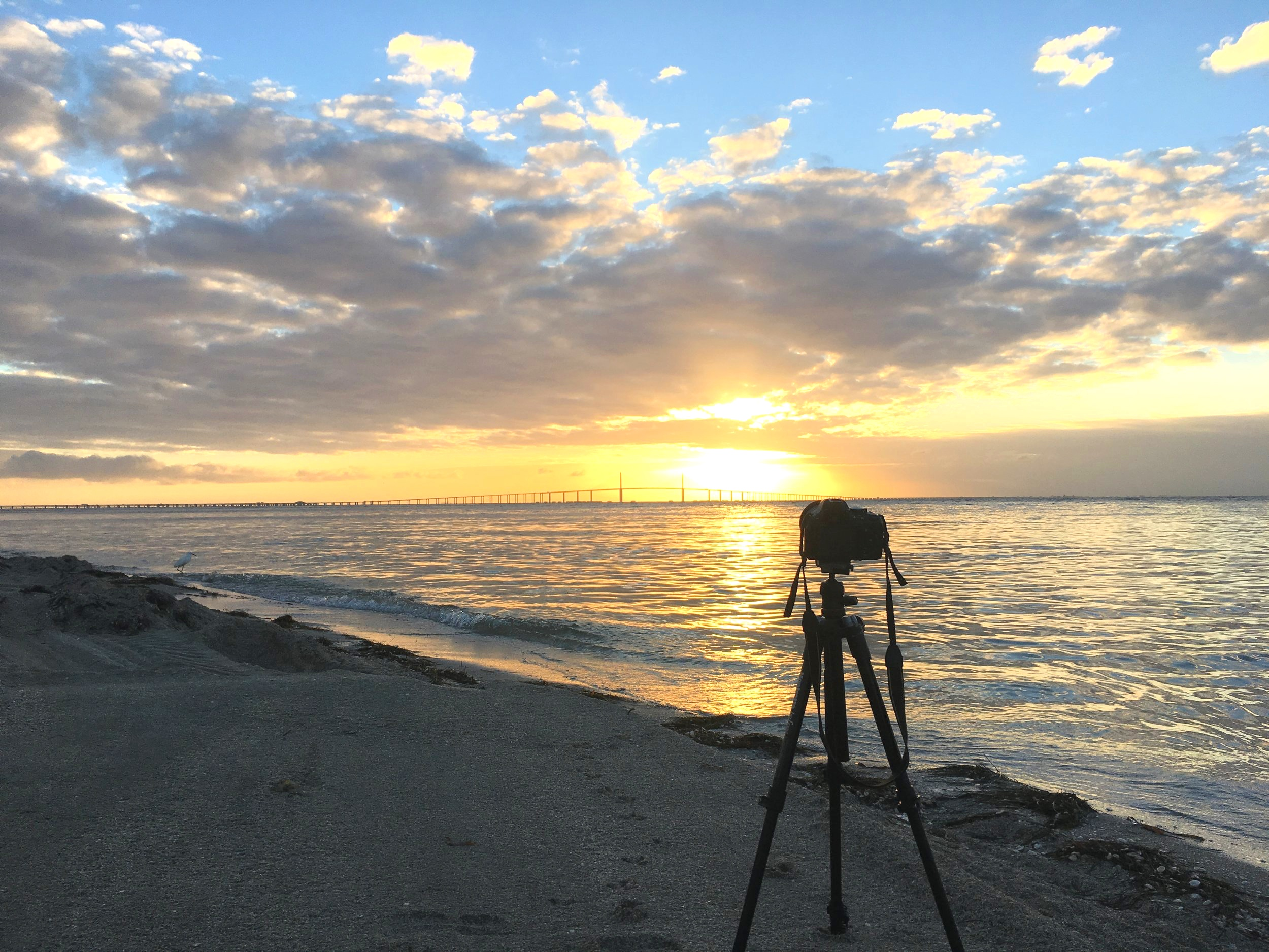 Camera in front of the Sunshine Skyway Bridge