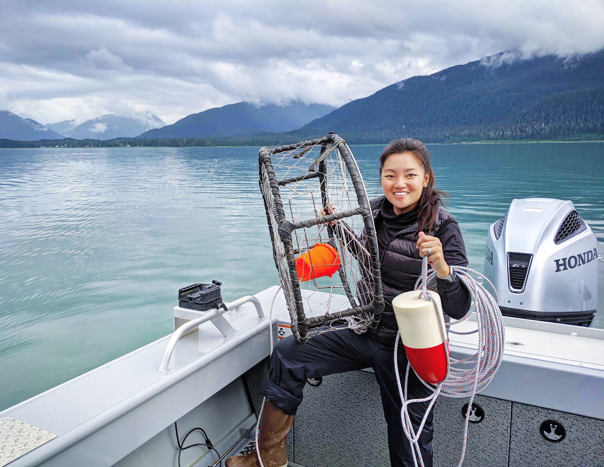 Mary Parkhill with Crabpot in Juneau Alaska