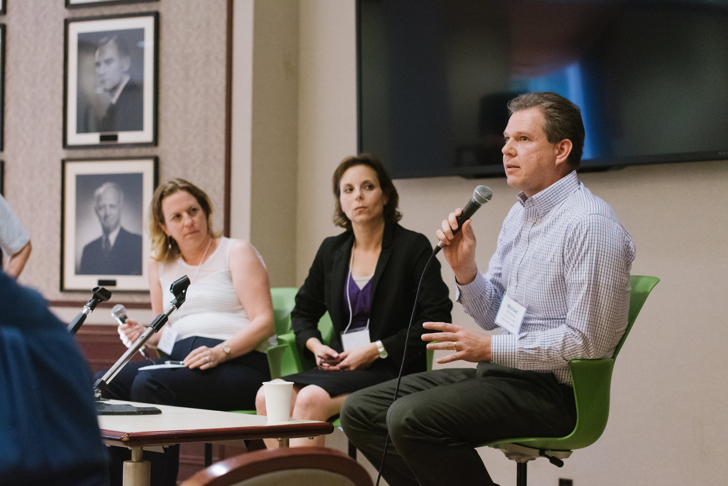 L to r: Emily Moore (Hatch), Jodi Engel (Toronto Hydro) and Michael St. Pierre (Chemtrade Logistics) speak on a panel at NICKEL