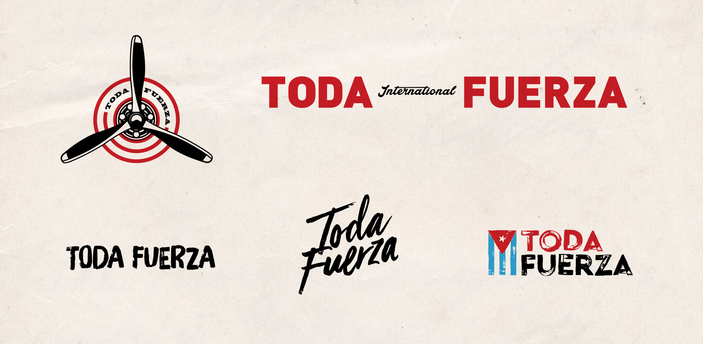 Toda Fuerza graphics and brand styling.