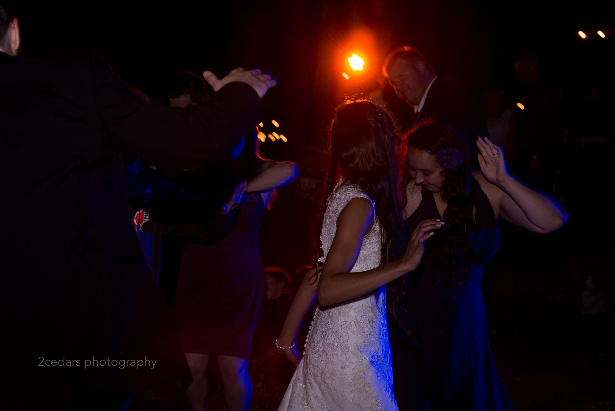 Wedding reception dance party bride and bridesmaids