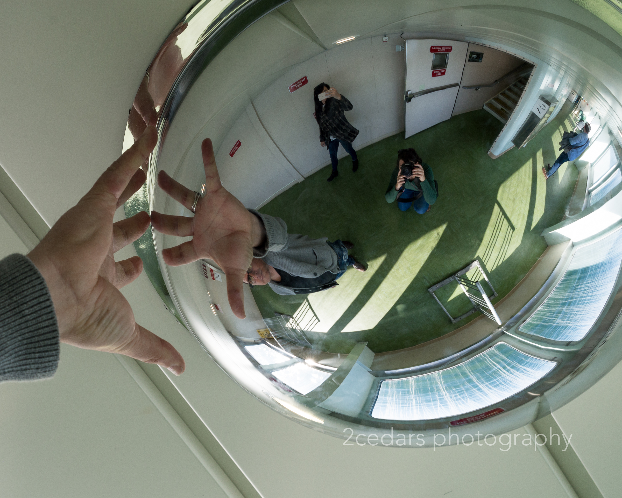 Reflection of photographer and hand in a mirrored ball on Vashon Ferry