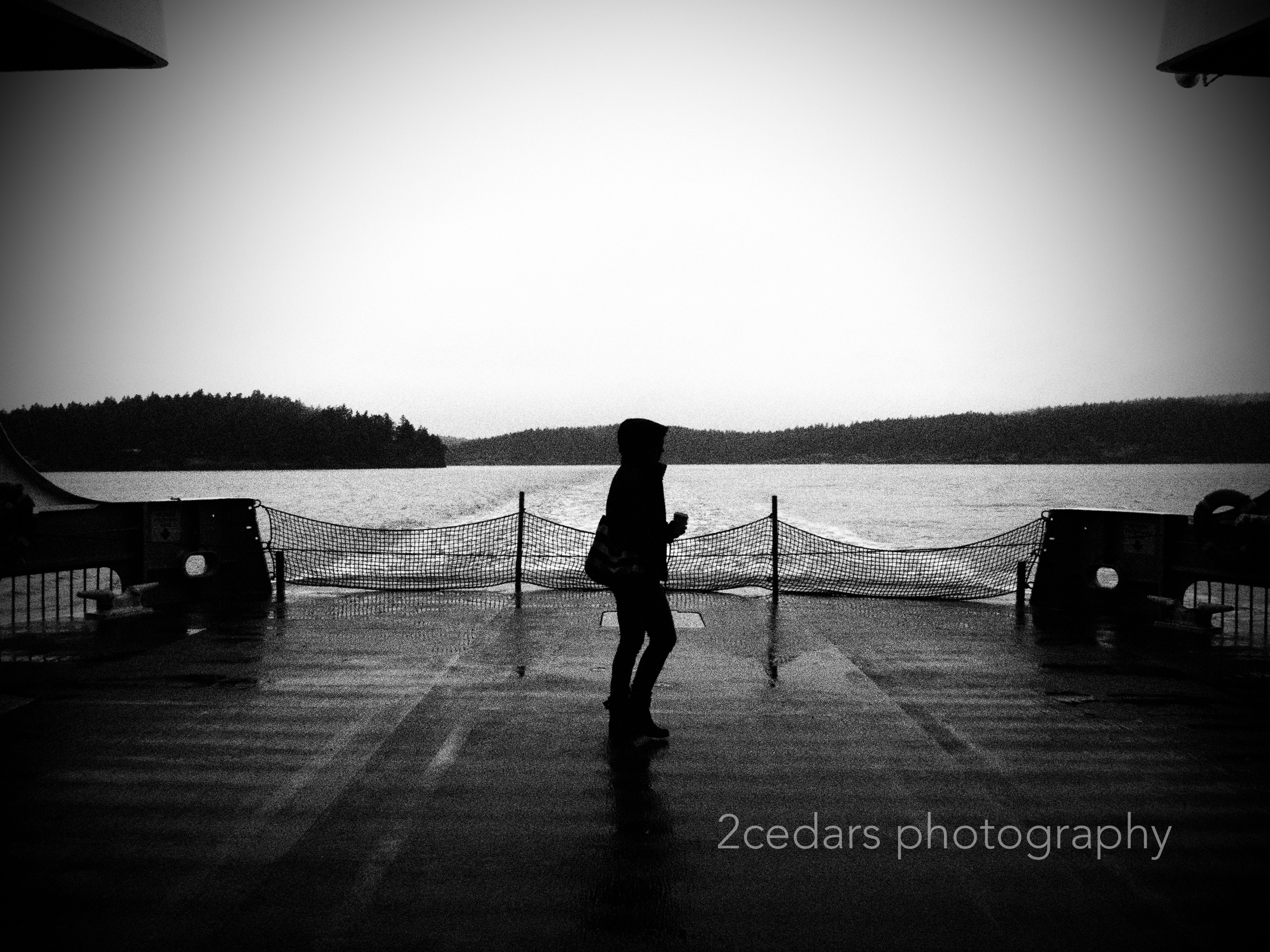 Black and white ferry silhouette in Washington State