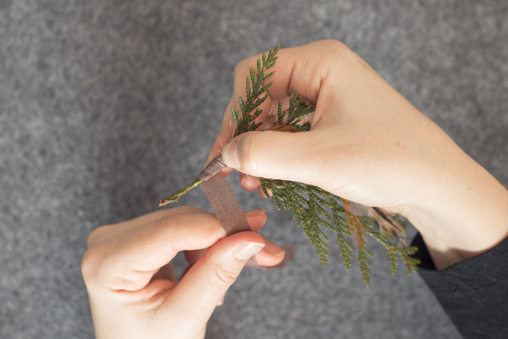 2 Cedars Photography - Seattle/Tacoma Photographers  Make your own feather and cedar groomsmen boutonnieres