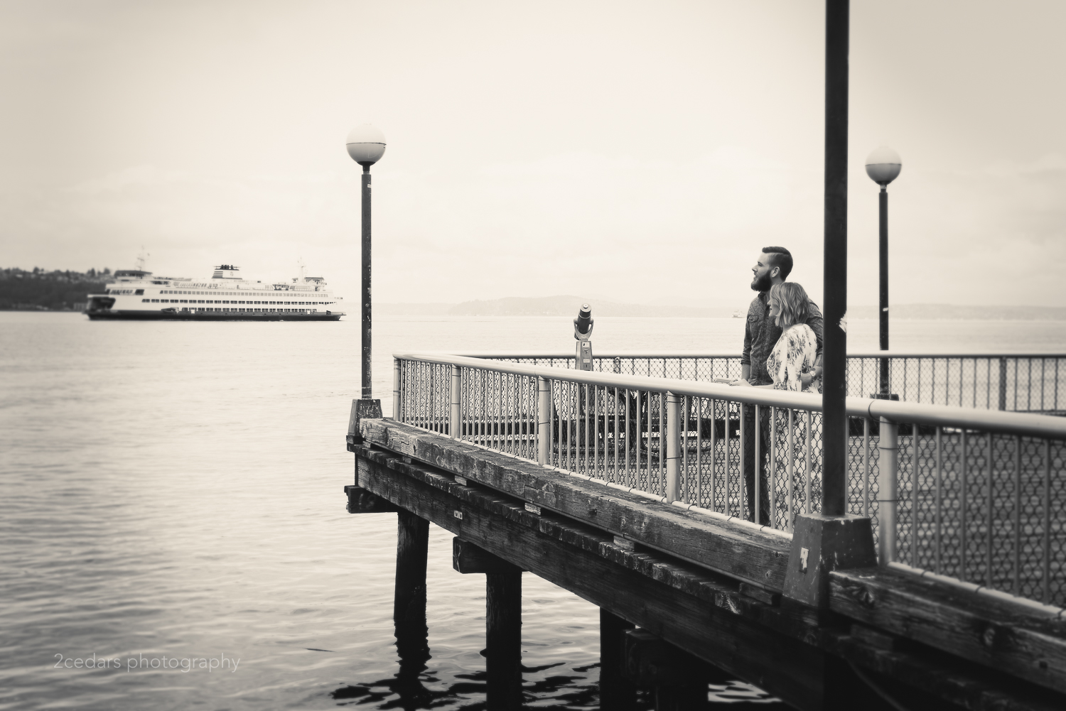 Seattle waterfront engagement photo in black and white
