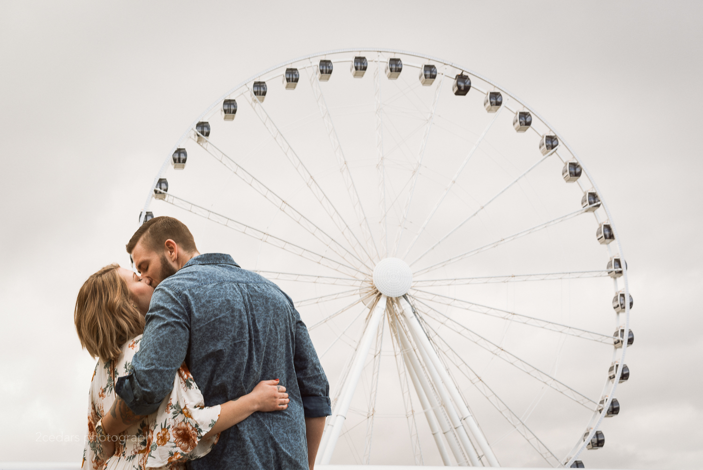 Seattle ferris wheel engaged couple