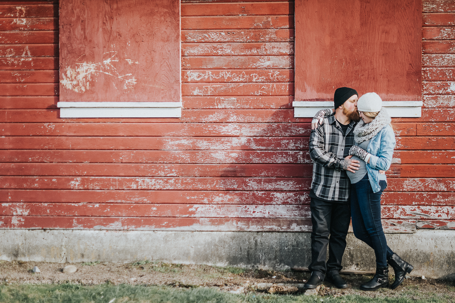 Fort Steilacoom Red Barn Couple Photography