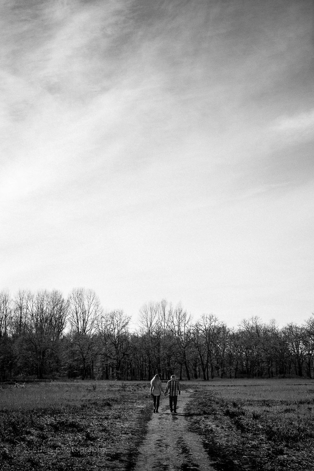 Black and White Field Path Couple