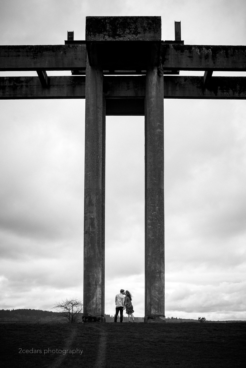 Chambers Bay Park Structure Engaged Couple Photo