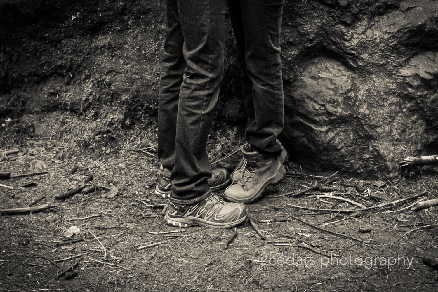 Hiking Boots kissing couple
