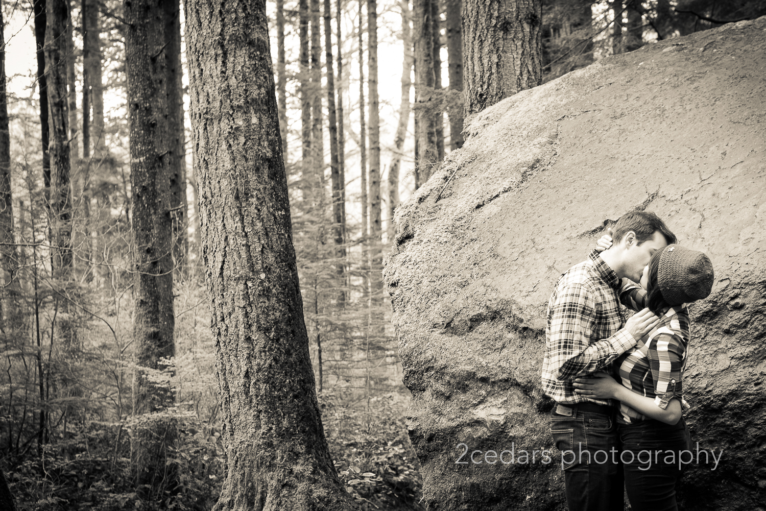 Forest Couple Kissing