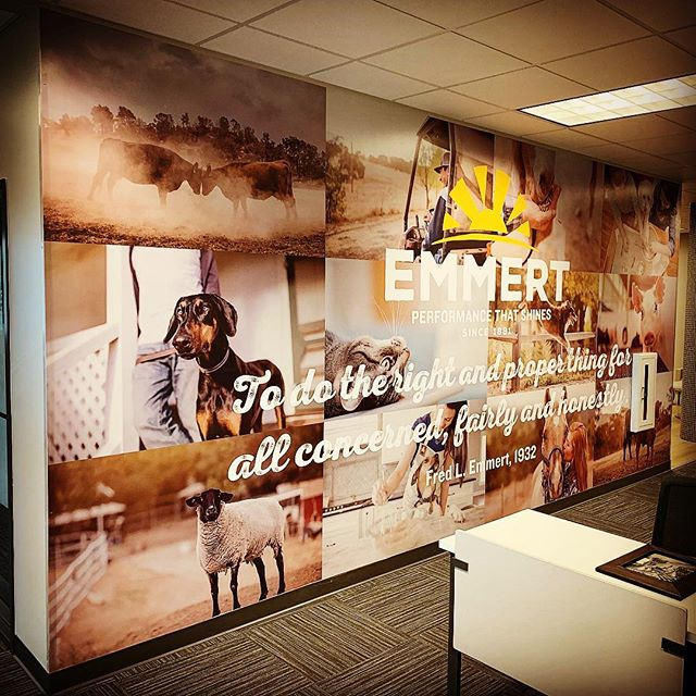Thanks to the #Emmertcompany for using #corbittgraphics to showcase their new branding with some wall vinyl in their new office space! #vinyl #branding