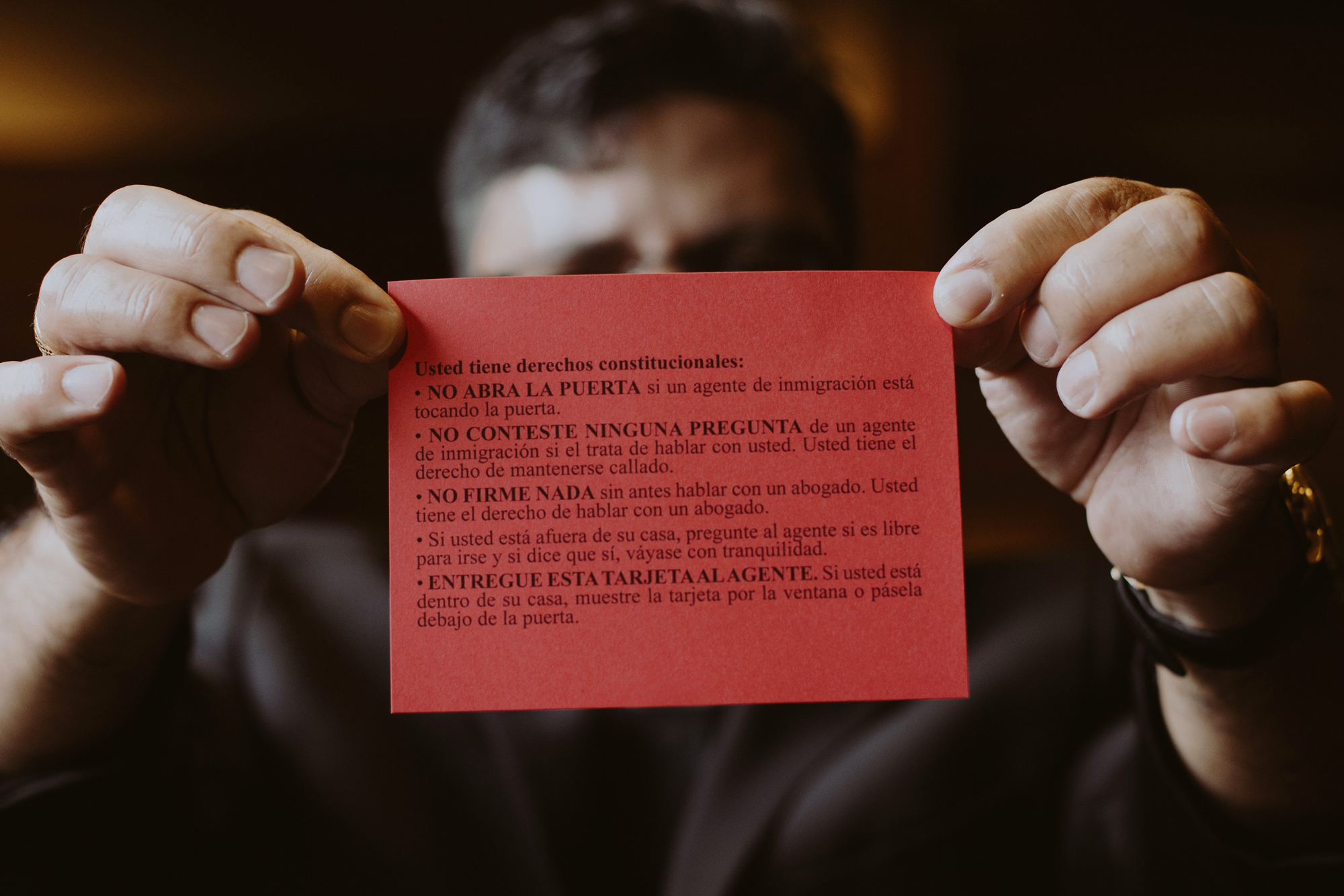 Red cards proclaim people's rights and let law enforcement officers know that people understand that they do not have to submit to illegal searches. They are meant to be posted on front doors and kept inside cars.
