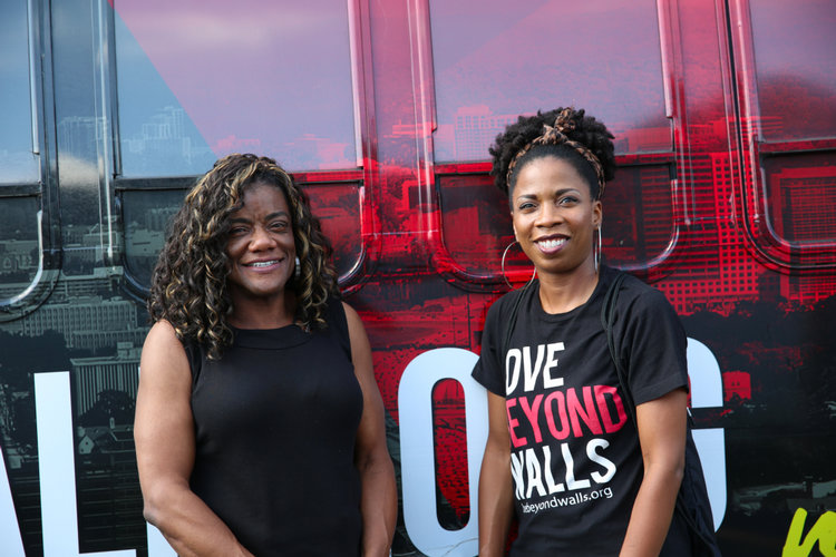 ABOVE: Vicki ... and Cynthia ... standing in front of the love beyond walls bus