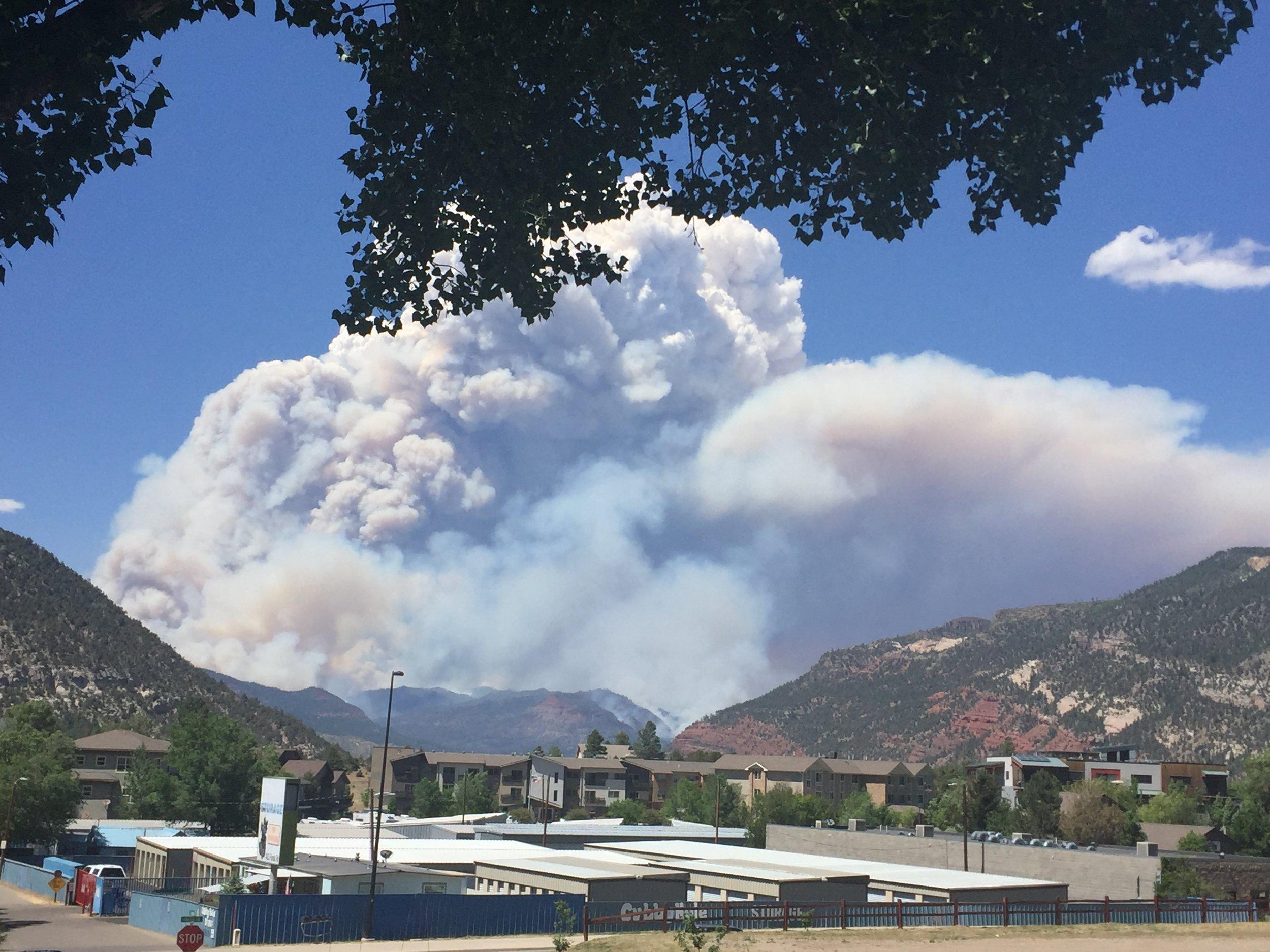 Smoke from the 416 fire above Durango, CO. Photo:Lori Zazzaro, SJBH