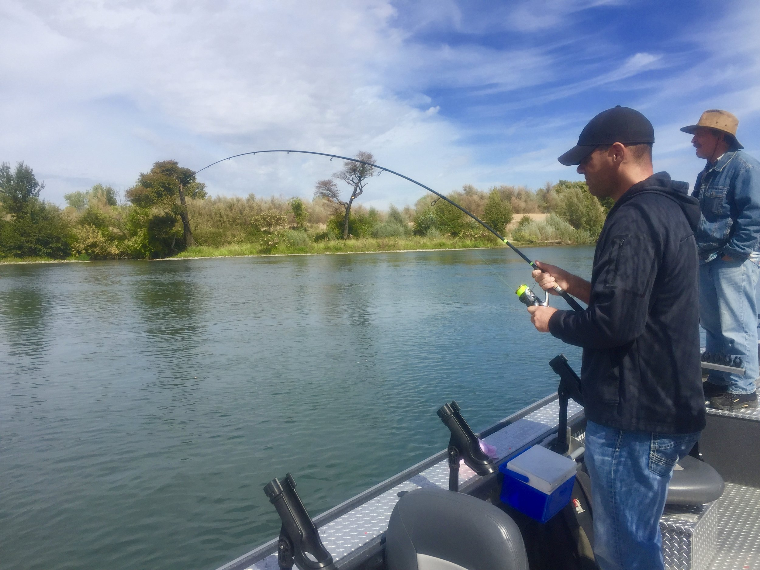 Shaun Montgomery of Palo Cedro, Ca. fight one of two King salmon he hooked while fishing with us!