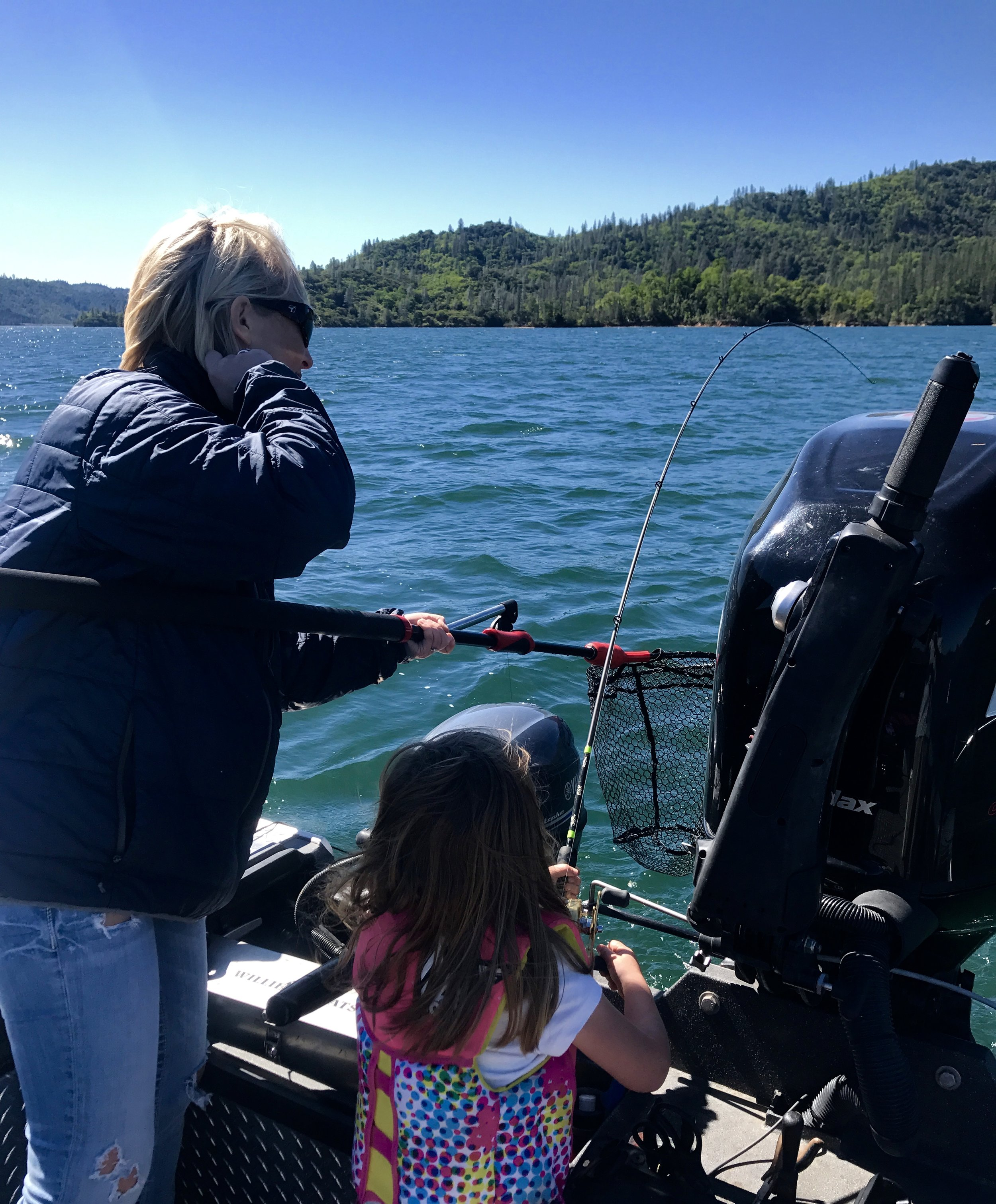 Gracie and Jaynie honing their skills on Whiskeytown Lake.
