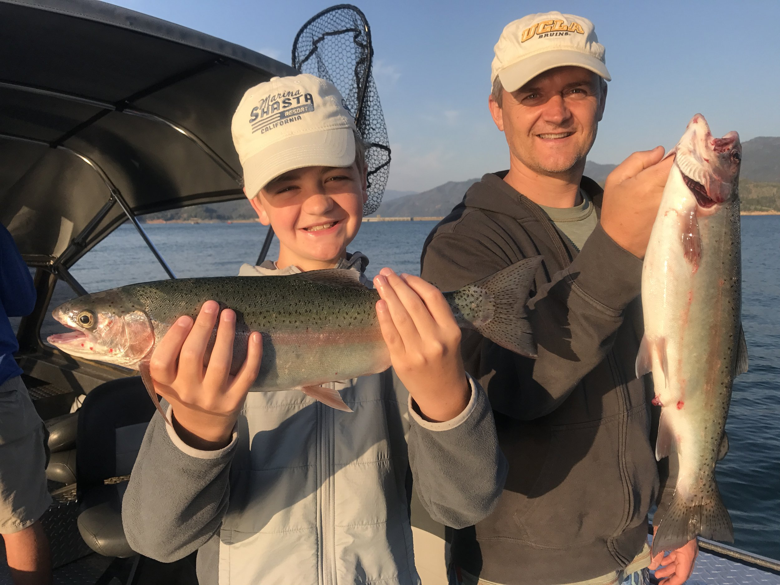 Father son double hook up on Shasta Lake!
