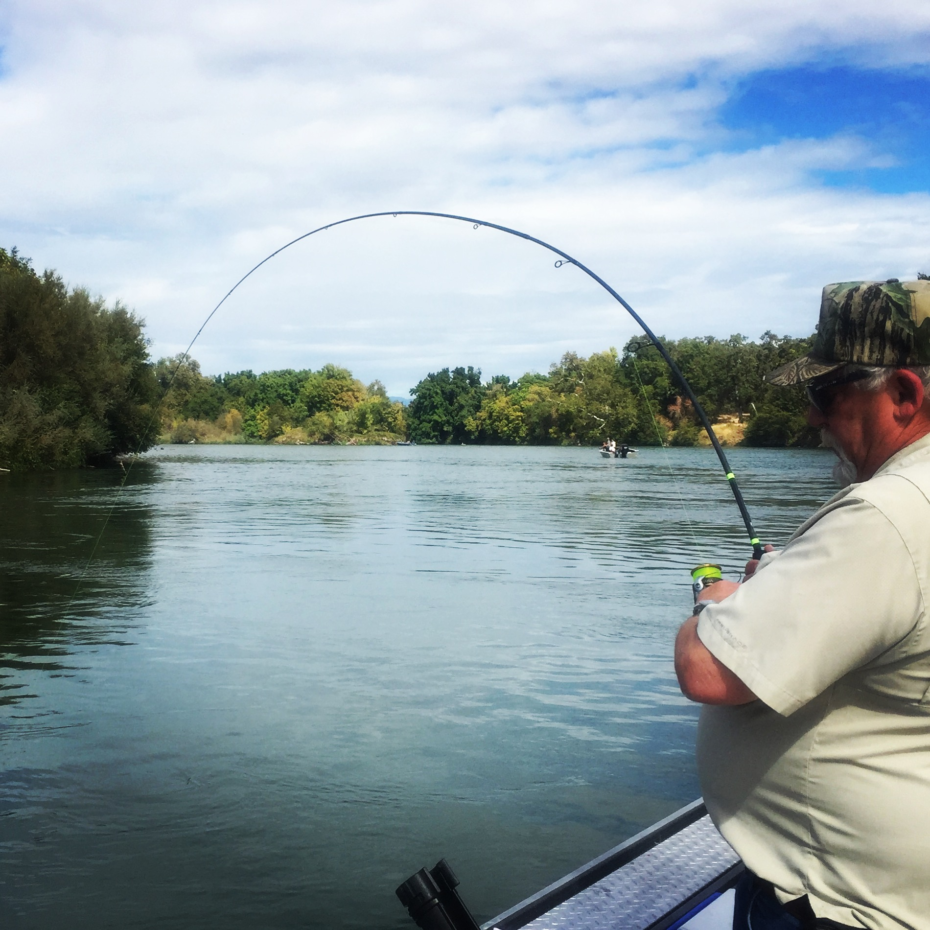 Angler from Nevada hooked up with a Sac River King salmon while drift fishing roe.