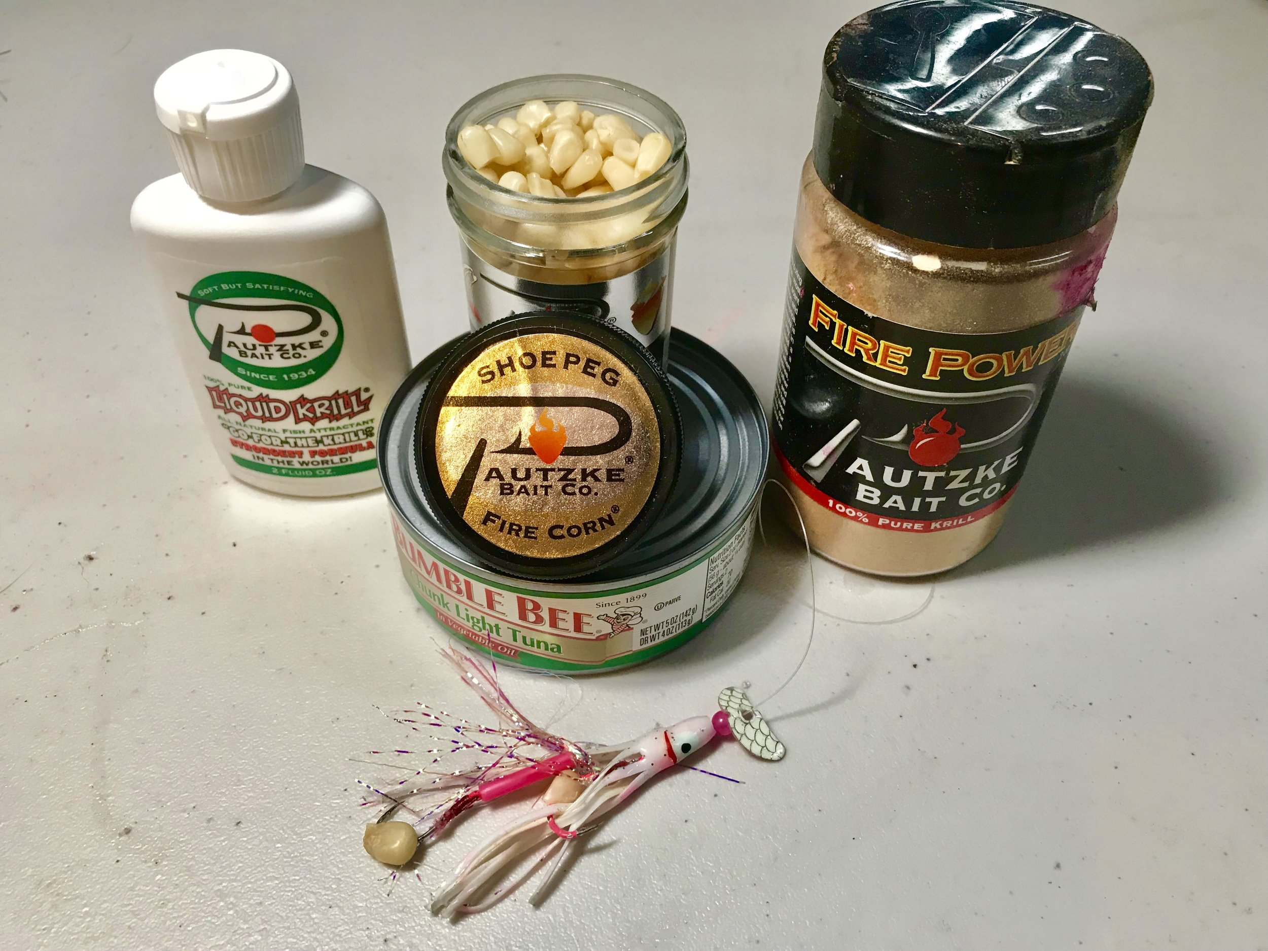 Pautzke Bait Co. Fire Corn and some additional scents I will add when fishing Whiskeytown Lake.