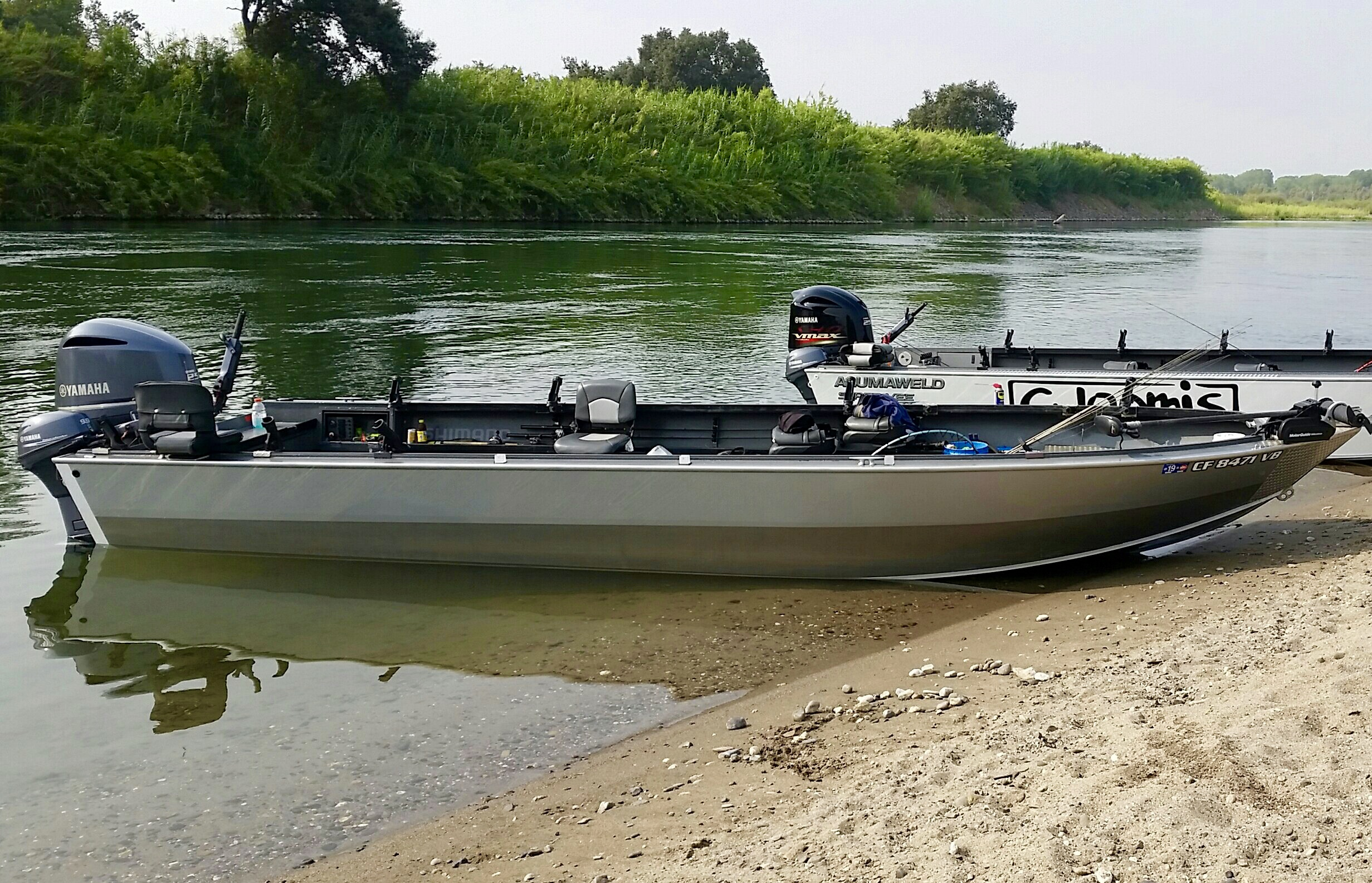 Justin's 25' Alumaweld jet boat serves as a very comfortable fishing platform for his power boat fishing trips on the Sacramento River and can easily accommodate 6 anglers.