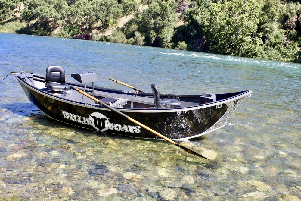 Justin's 17' Willie drift boat serves as his fly fishing platform when fishing the Sacramento and Trinity river for steelhead and trout. Justin can accommodate a group of two anglers for his fly and drift fishing trips.