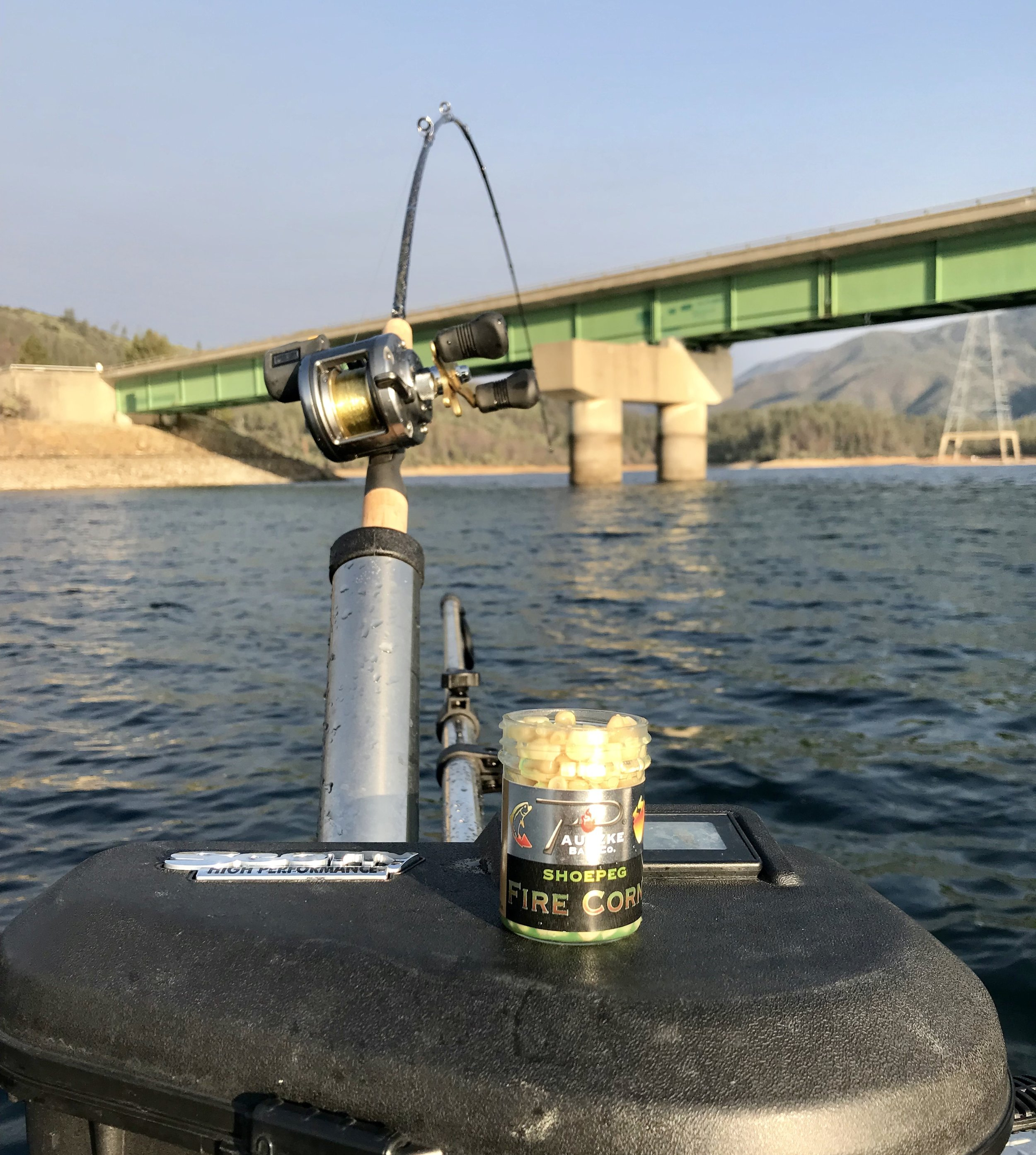 The SR 299 bridge is one of the most popular places to fish Whiskeytown Lake for Kokanee salmon.