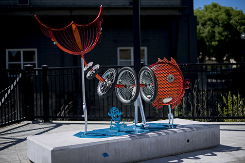 Treasures from the Sea by Lieutenant Mustardseed - recycled bicycle parts, resin, steel, automotive paint finish // 2007