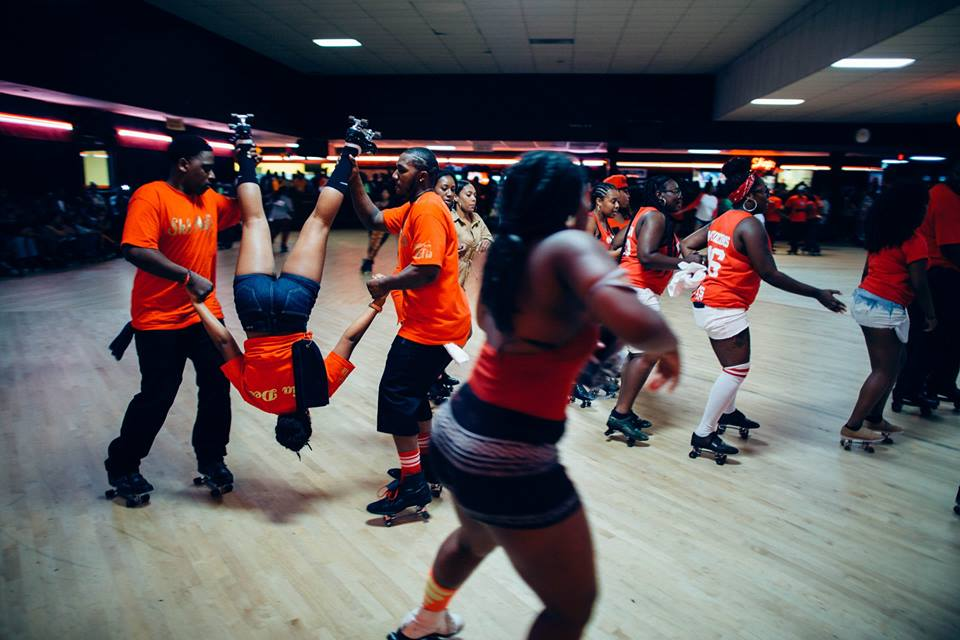 """Sk8 Mafia during the California section of Roll Call. Every year, during Sk8athon's Sa turday night session a """"roll call"""" event takes place where skaters are called to skate for their city/state with accompanying regional skate music. Cascade Fun Center. Atlanta, Georgia."""