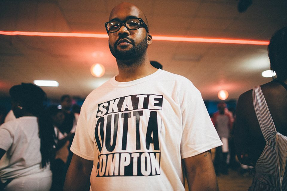 """2015 saw the skate community re-imagine the """"Straight Outta Compton"""" t-shirt designs made popular by the N.W.A.movie.Golden Glide Fun Center. Decatur, Georgia."""