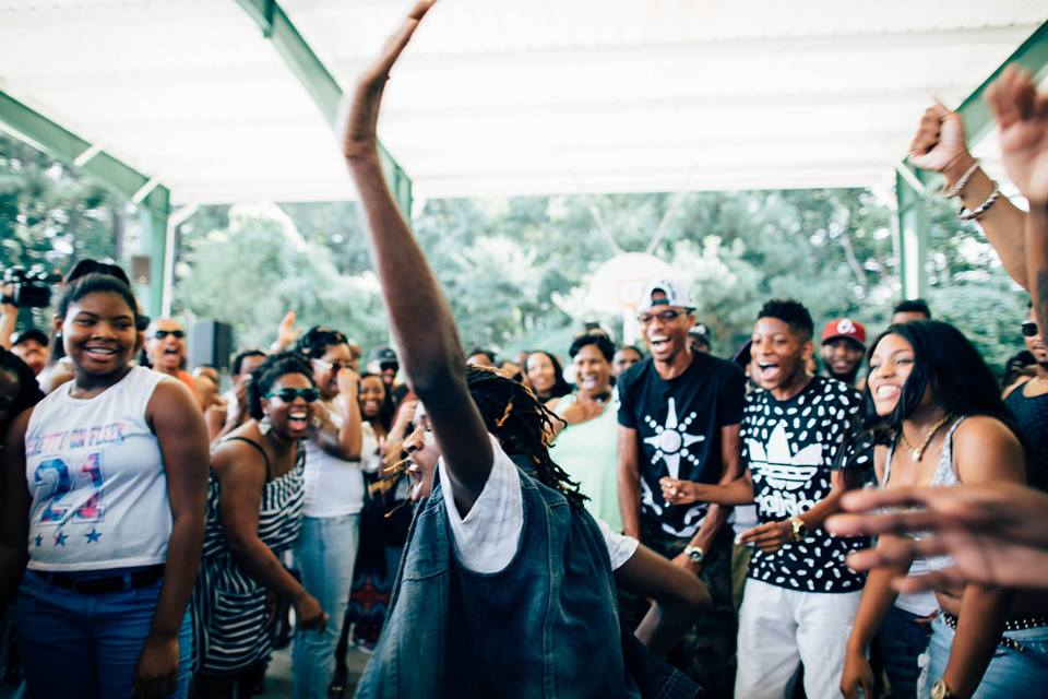 A dance battle erupts at a skate party cookout.Bransby Outdoor Family YMCA. Lithonia, Georgia.