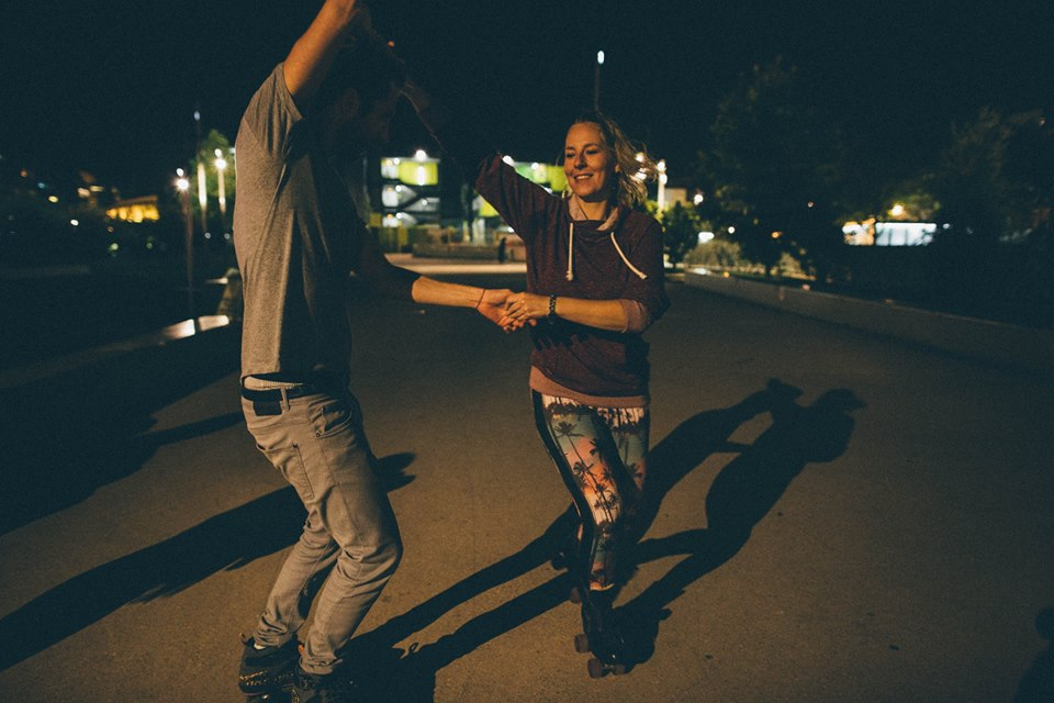 Kari Anne from Amsterdam and Florian Gravier from Paris practice together at Jardin Nelson Mandela for an upcoming show. Paris, France. Kari is the owner of Amsterdam-based skate school, Skate Dance  ,  and Florian is the inventor of the on-the-go skate shoe,  Flaneurz .