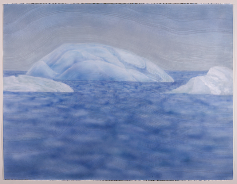 Born Again Baby Boy (at Jökulsárlón Lagoon),  2017  airbrush acrylic and sumi ink on paper  38 x 50 inches