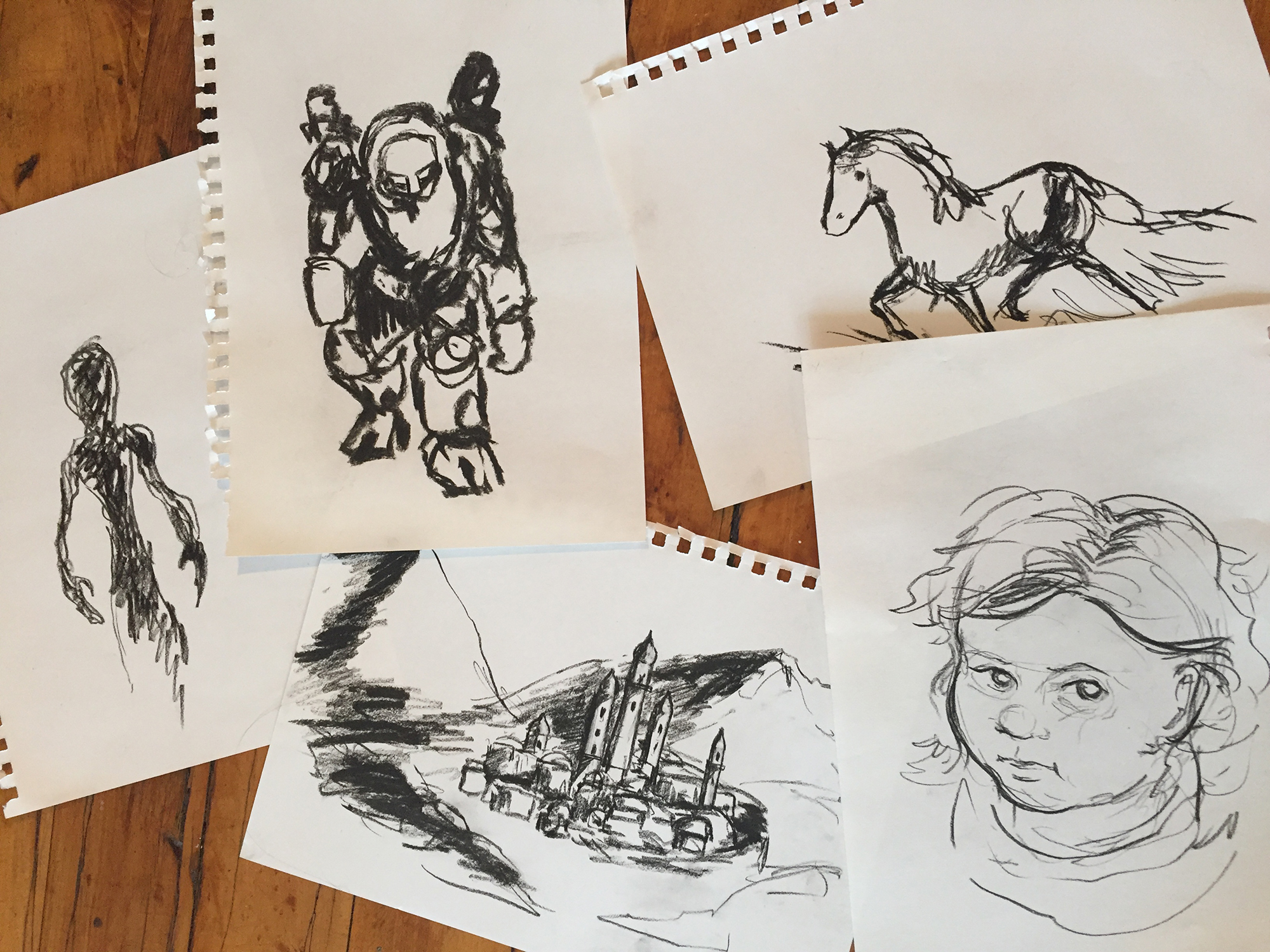 Various sketches, charcoal on paper