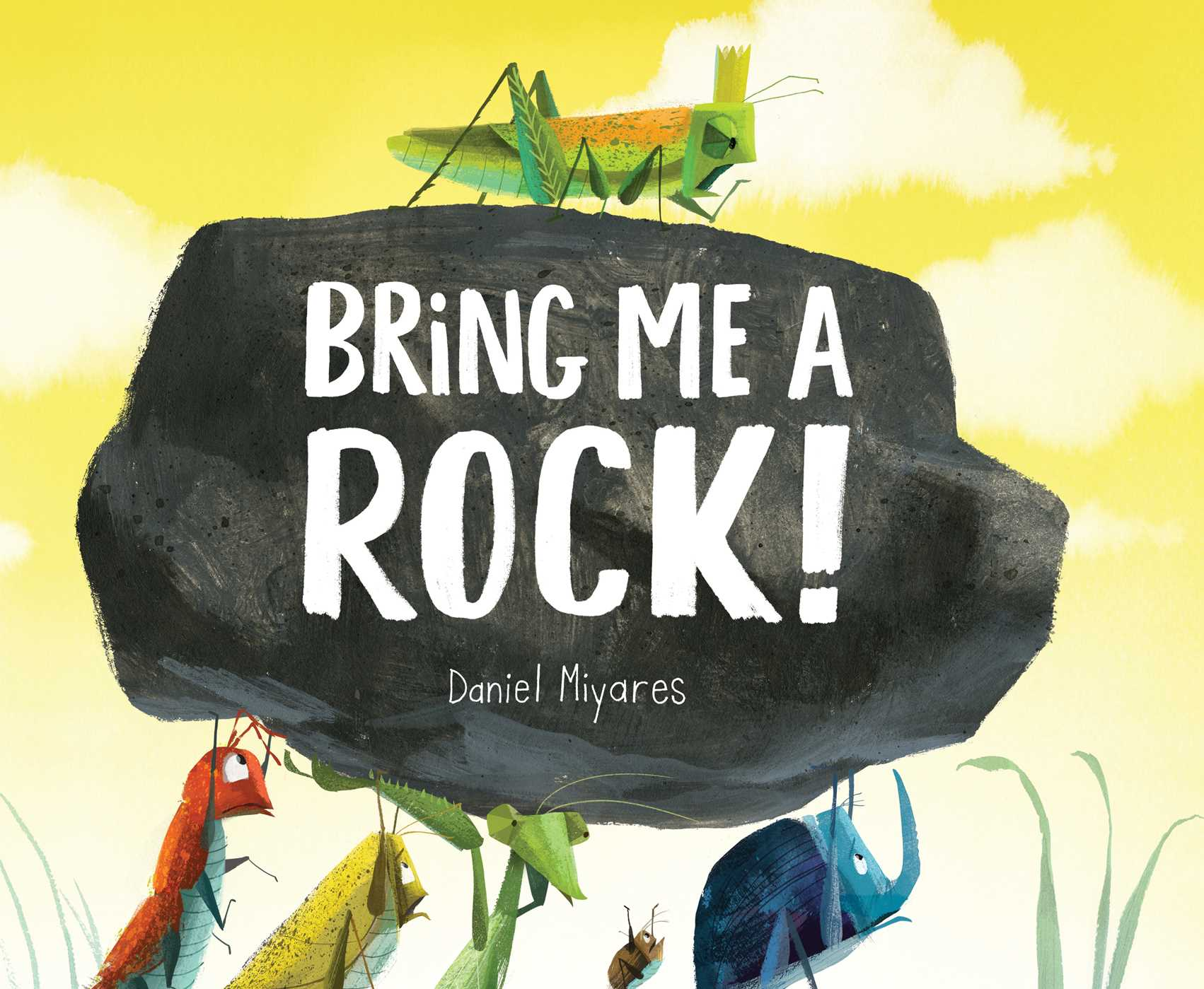 BRING ME A ROCK! by Daniel Miyares, who also wrote and illustrated PARDON ME! and FLOAT. While editorial me objects to exclamation points in book titles, the childish part of me just loves 'em.