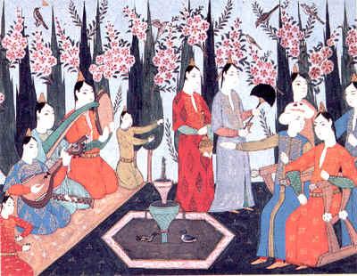 Women of the Harem play the Ottoman çeng; Salastina (?), third from left
