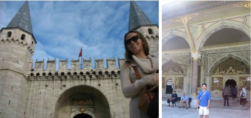Maia outside Topkapi Palace, where our research was conducted; Kevin on the palace grounds