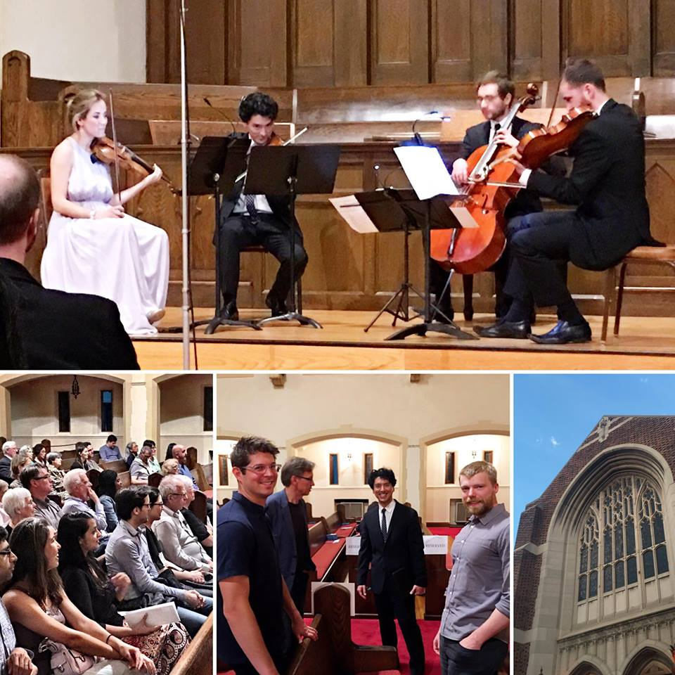 A collage we received from Todd Mason, an audience member and composer in his own right. Bottom row, center: Kevin with Adam Schoenberg, Gernot Wolfgang, and Andrew Norman, whose pieces were performed at the concert.