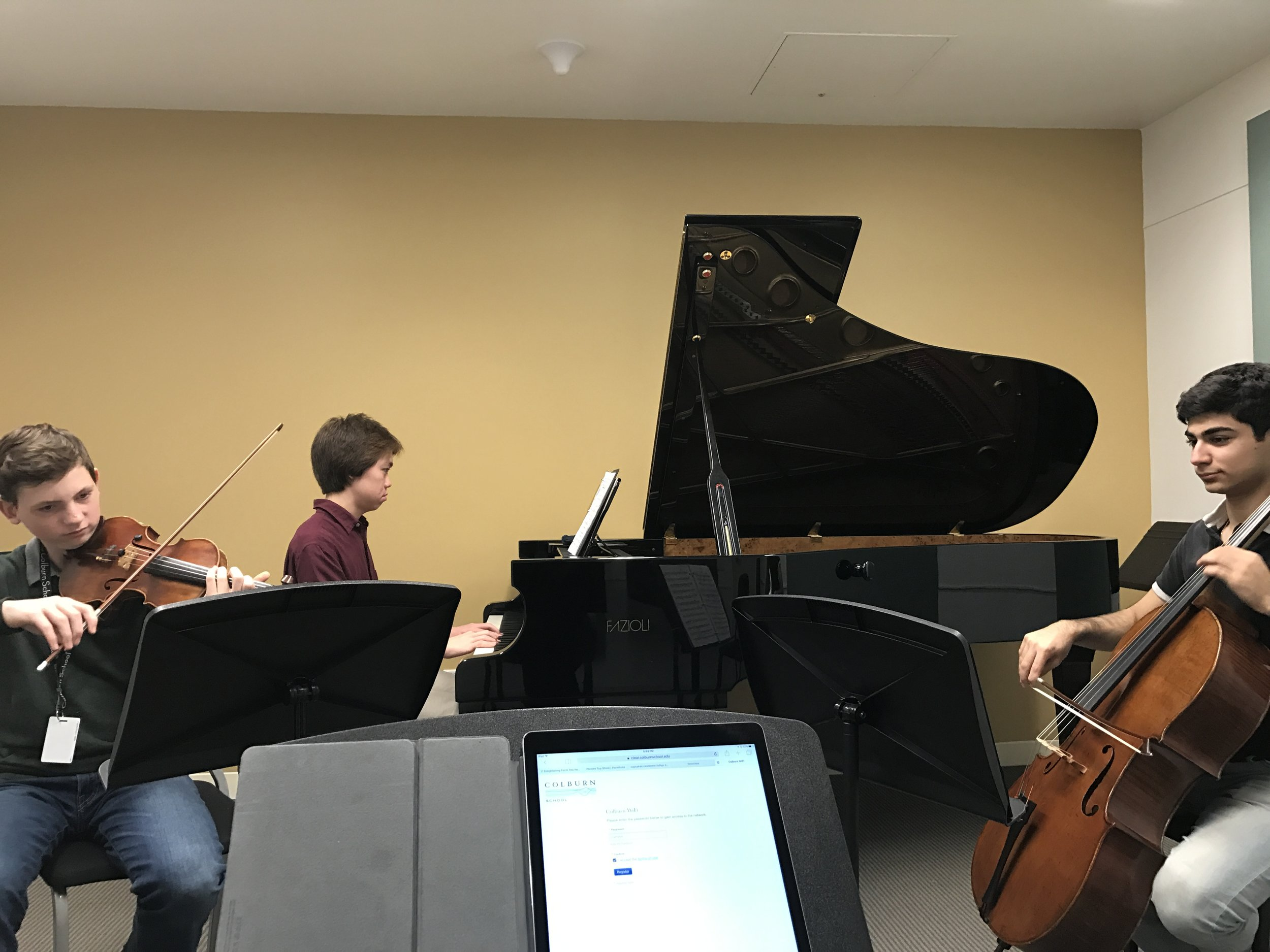 In the trenches with my honors piano trio at colburn. (This gifted and precocious group is also participating in sounds promising.)