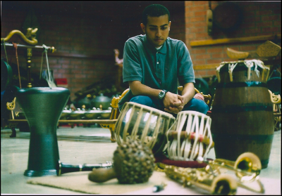 A young Derrick Spiva Jr. in the UCLA gamelan room in 2005.