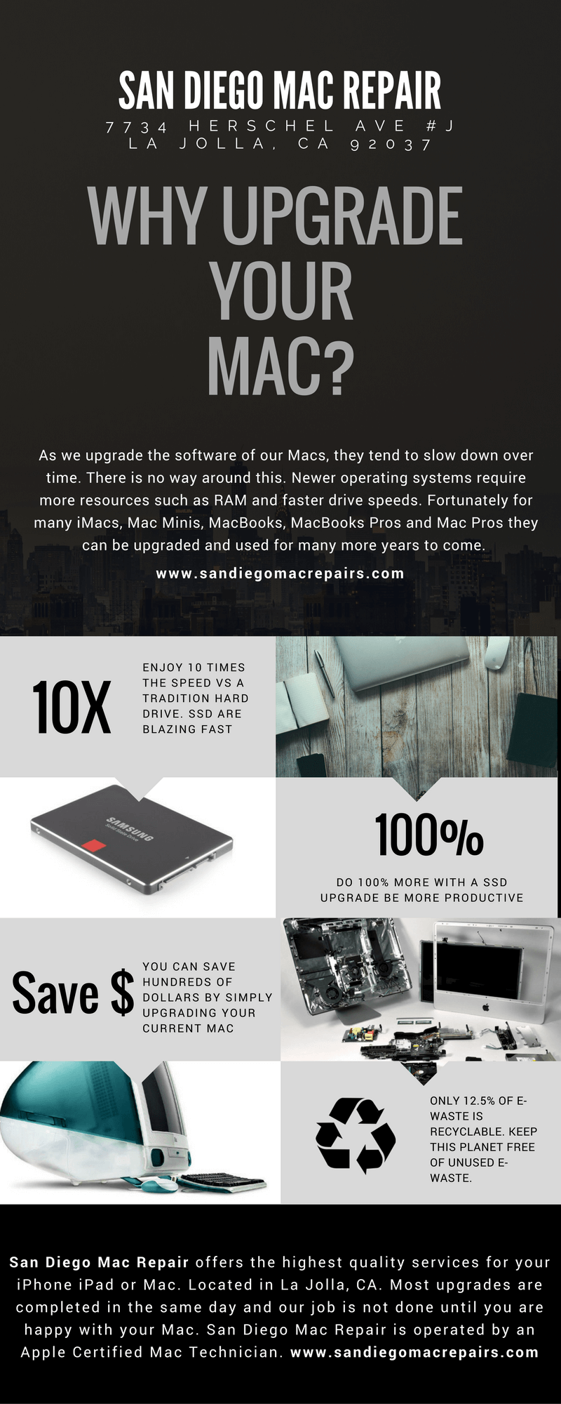 san diego mac repair infograph why upgrade your mac. macbook ssd ugprade done by apple certified mac technician visit san diego mac repair in la jolla. same day installation choose your storage.