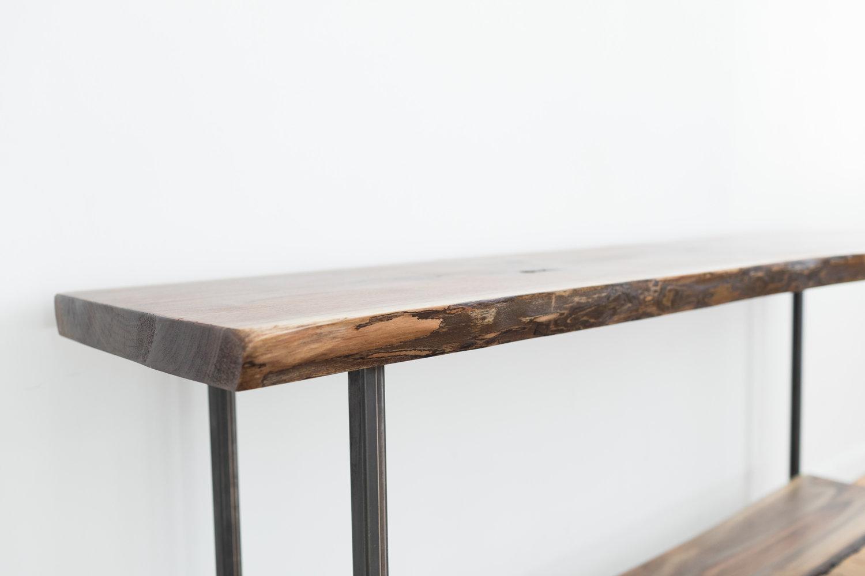 Any Size Live Edge Walnut Console Table Handmade Black Walnut Sofa Table Mid Century Modern Entry Table Farmhouse Table